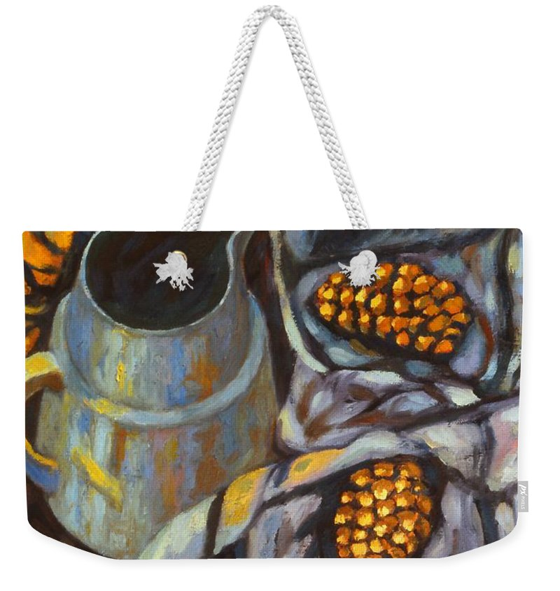 Still Life Weekender Tote Bag featuring the painting Bird Scarf by Kendall Kessler