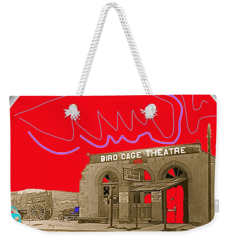 Birdcage Theater Tombstone Arizona Ca.1934 Lotta Crabtree Eddie Foy Lillie Langtree Lola Montez Color And Drawing Added Restored Vignetted Weekender Tote Bag featuring the photograph Birdcage Theater Tombstone Arizona Ca.1934 by David Lee Guss