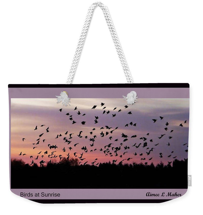 Birds Weekender Tote Bag featuring the photograph Birds At Sunrise Poster by Aimee L Maher ALM GALLERY