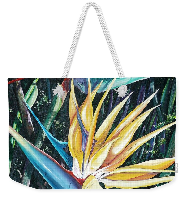 Caribbean Paintings Flower Paintings Bird Of Paradise Paintings  Lily Tropical Paintings Caribbean Flower Paintings Tropical Paintings Tropical Flower Paintings Greeting Card Paintings Canvas Print Paintings Poster Print Paintings Bloom Colorful Weekender Tote Bag featuring the painting Birds Of Paradise 2  Sold by Karin Dawn Kelshall- Best