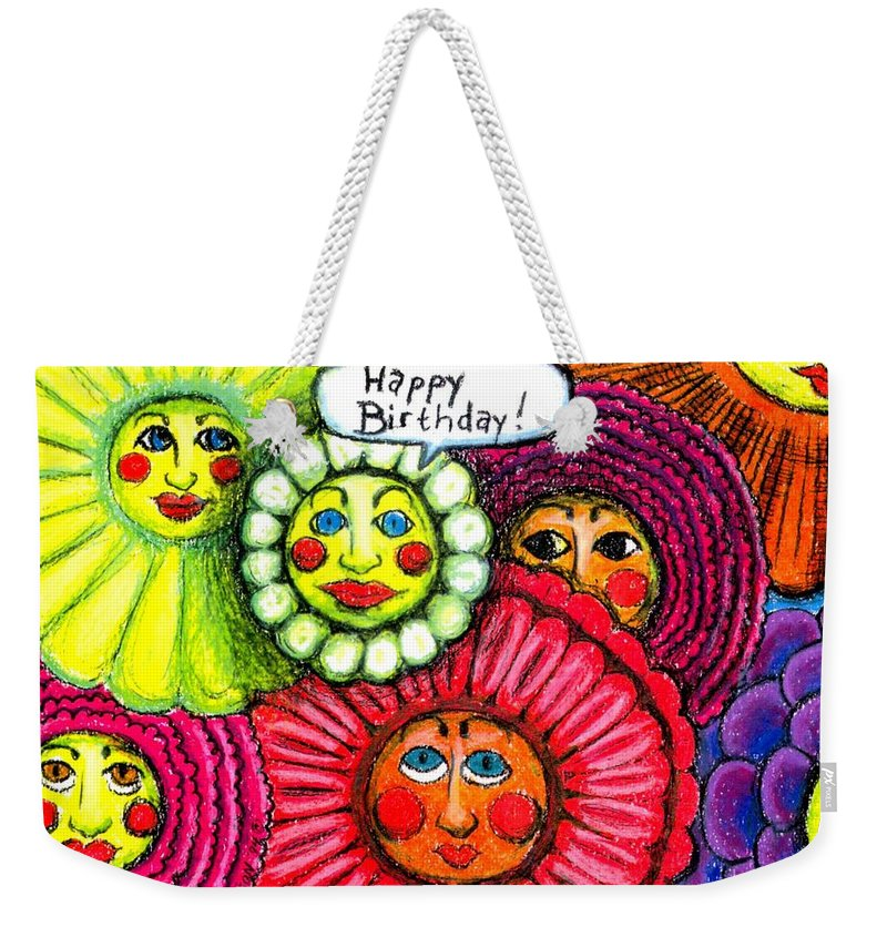 Flowers Weekender Tote Bag featuring the painting Birthday Flowers by Genevieve Esson