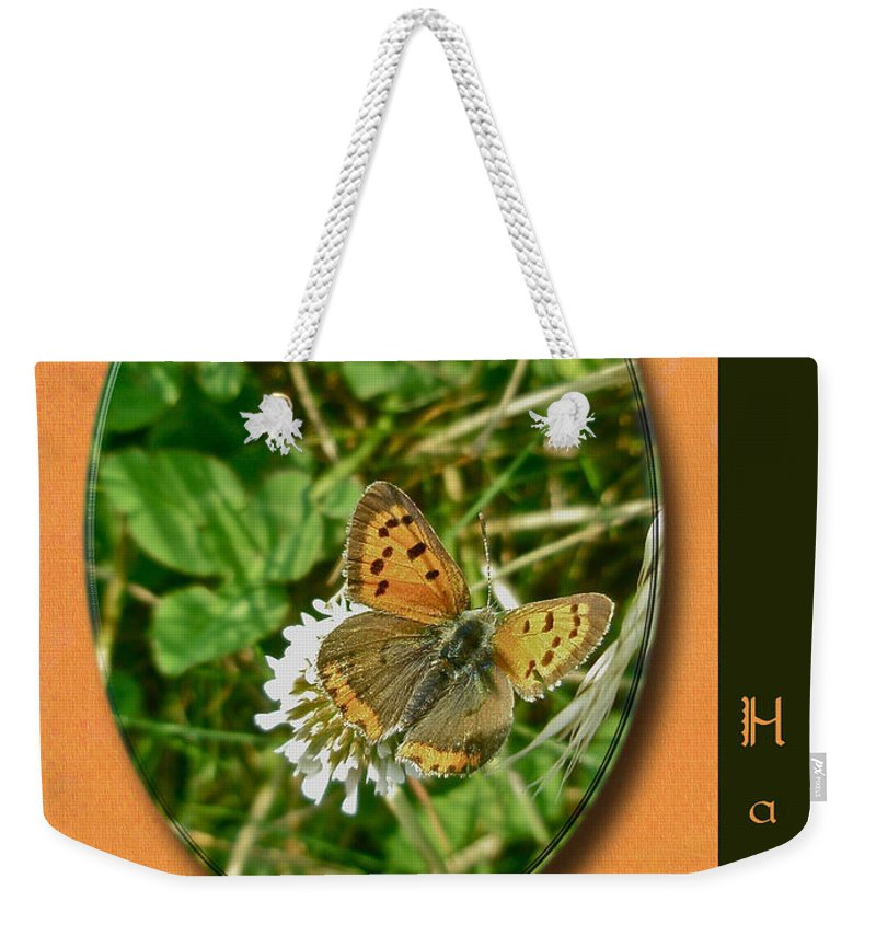 Birthday Weekender Tote Bag featuring the photograph Birthday Greeting Card - American Copper Butterfly by Mother Nature
