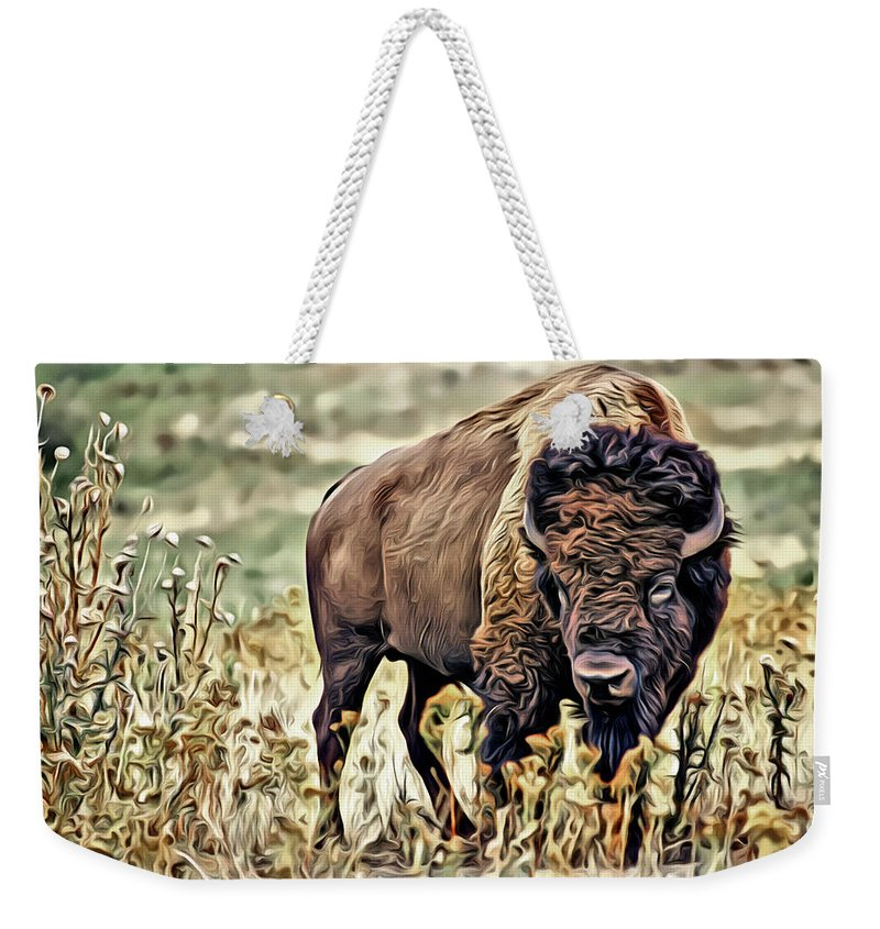 Bison Weekender Tote Bag featuring the photograph Bison by Carlos Diaz