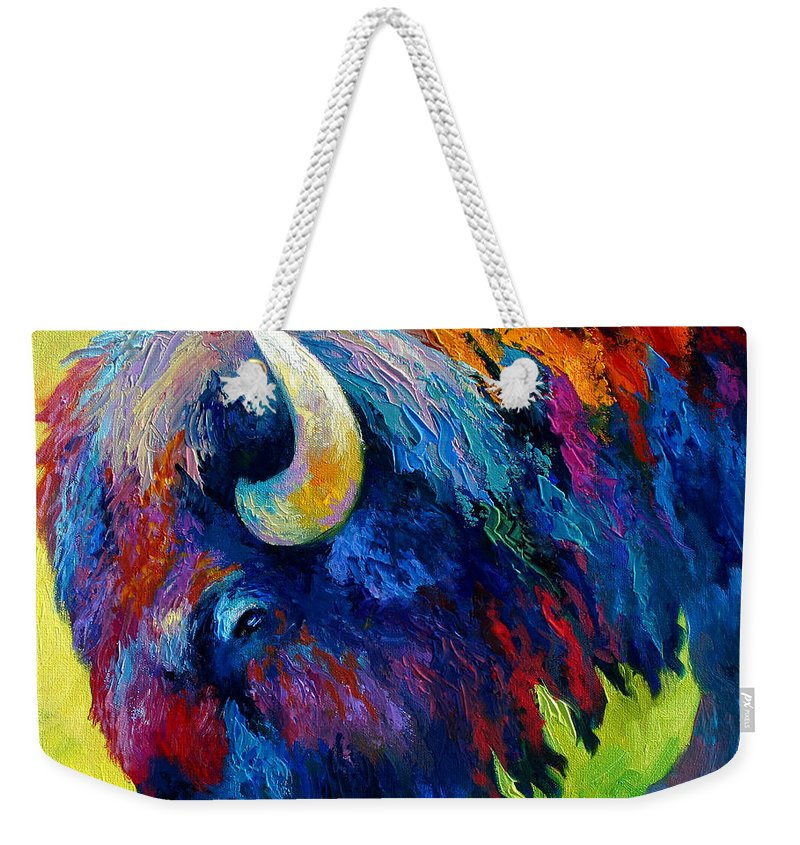 Wildlife Weekender Tote Bag featuring the painting Bison Portrait II by Marion Rose