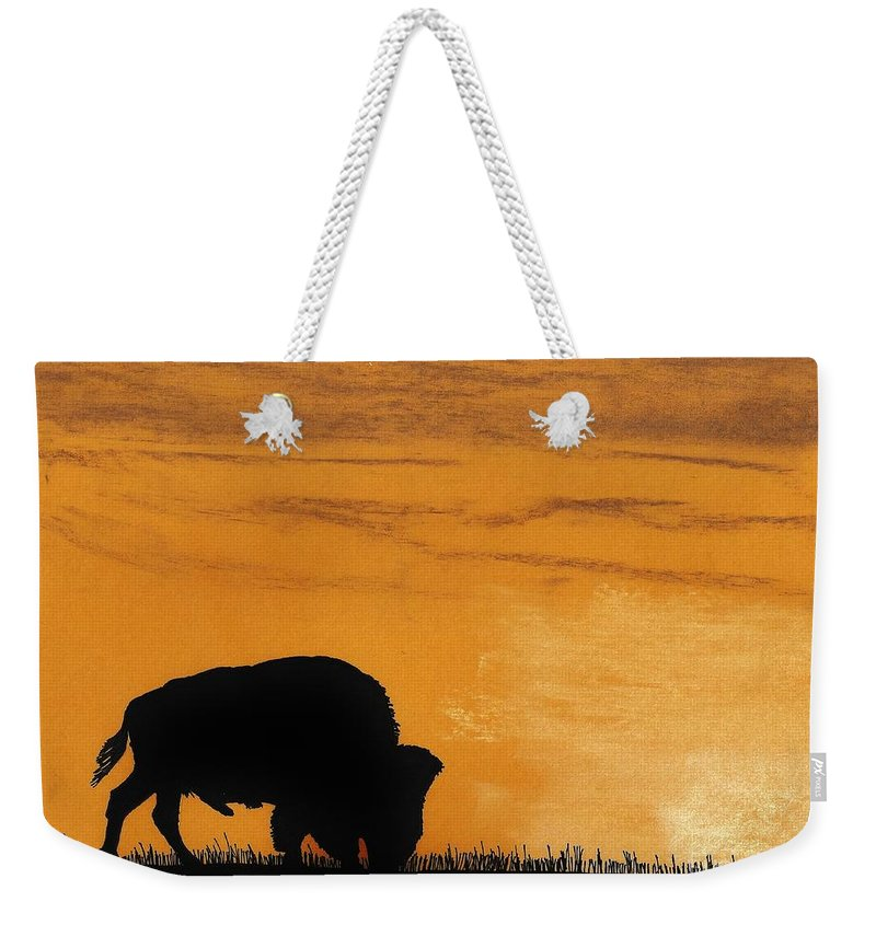 Buffalo Weekender Tote Bag featuring the drawing Bison Sunset by D Hackett