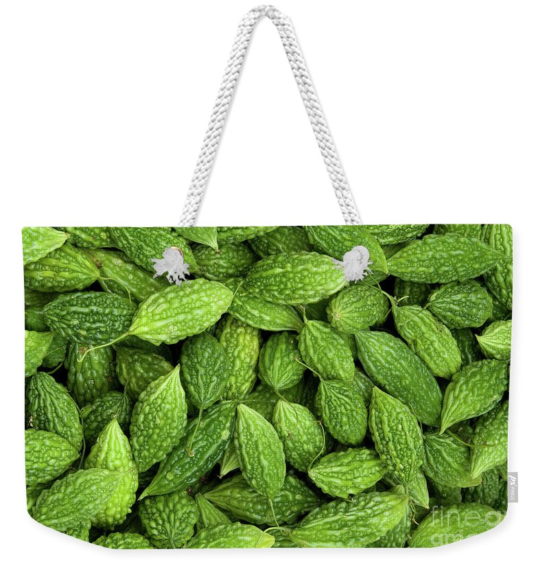 Green Weekender Tote Bag featuring the photograph Bitter Melons by Rick Piper Photography