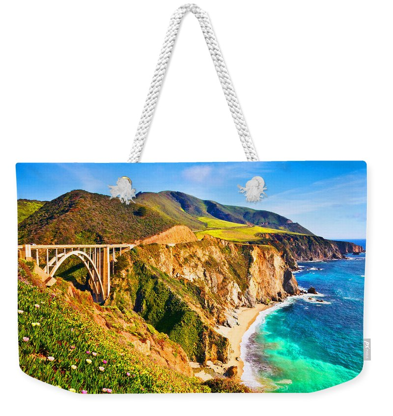 Aerial View Weekender Tote Bag featuring the digital art Bixby Creek Bridge Oil On Canvas by Don Kuing