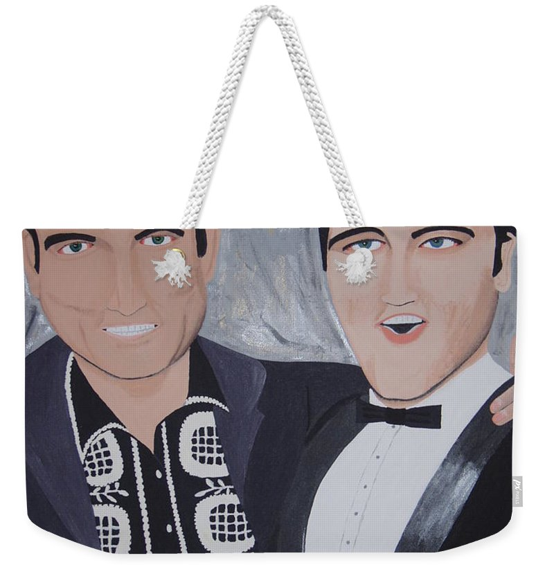 Painting Weekender Tote Bag featuring the painting Black And Blue by Dean Stephens