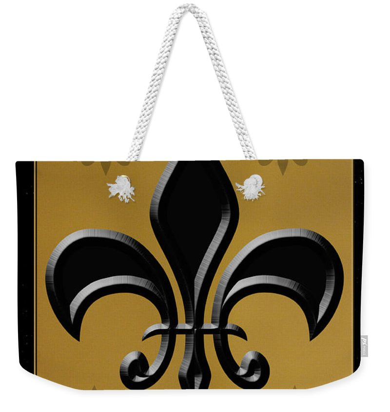 Fleur De Lis Weekender Tote Bag featuring the photograph Black And Gold by Karen Beasley