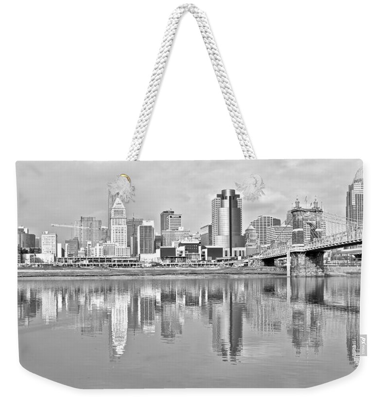 Cincinnati Weekender Tote Bag featuring the photograph Black And White Cincinnati Panoramic by Frozen in Time Fine Art Photography