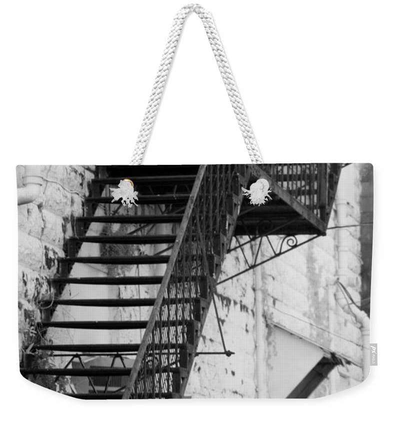 Vertical Weekender Tote Bag featuring the photograph Black And White Fire Escape Usa Near Infrared by Sally Rockefeller