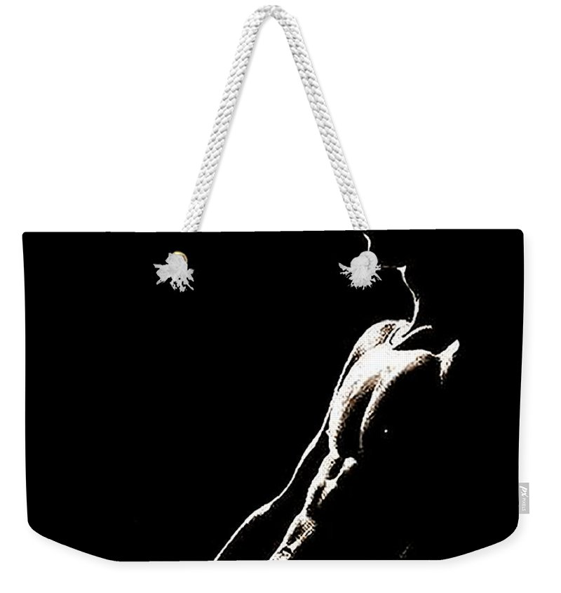 Black Weekender Tote Bag featuring the painting Black And White Profile by Troy Caperton