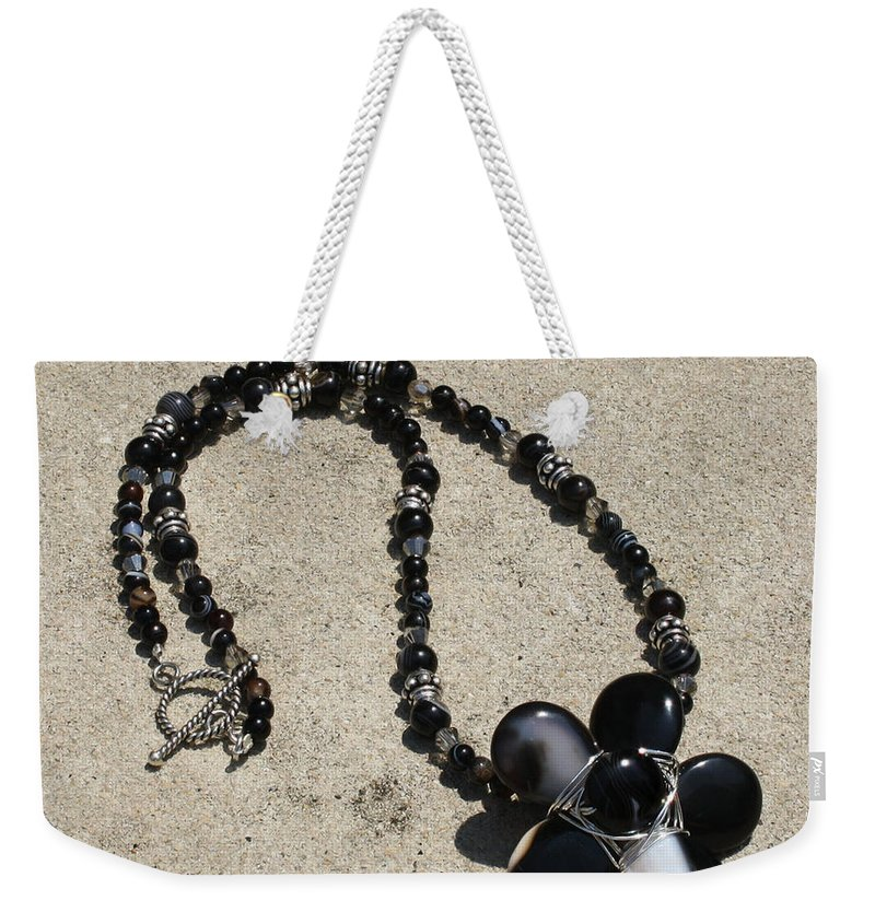 Original Handmade Jewelry Weekender Tote Bag featuring the jewelry Black Banded Onyx Wire Wrapped Flower Pendant Necklace 3634 by Teresa Mucha