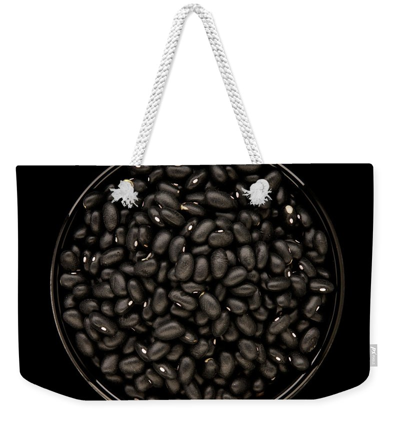 Bowl Weekender Tote Bag featuring the photograph Black Beans In Bowl by Bailey Cooper