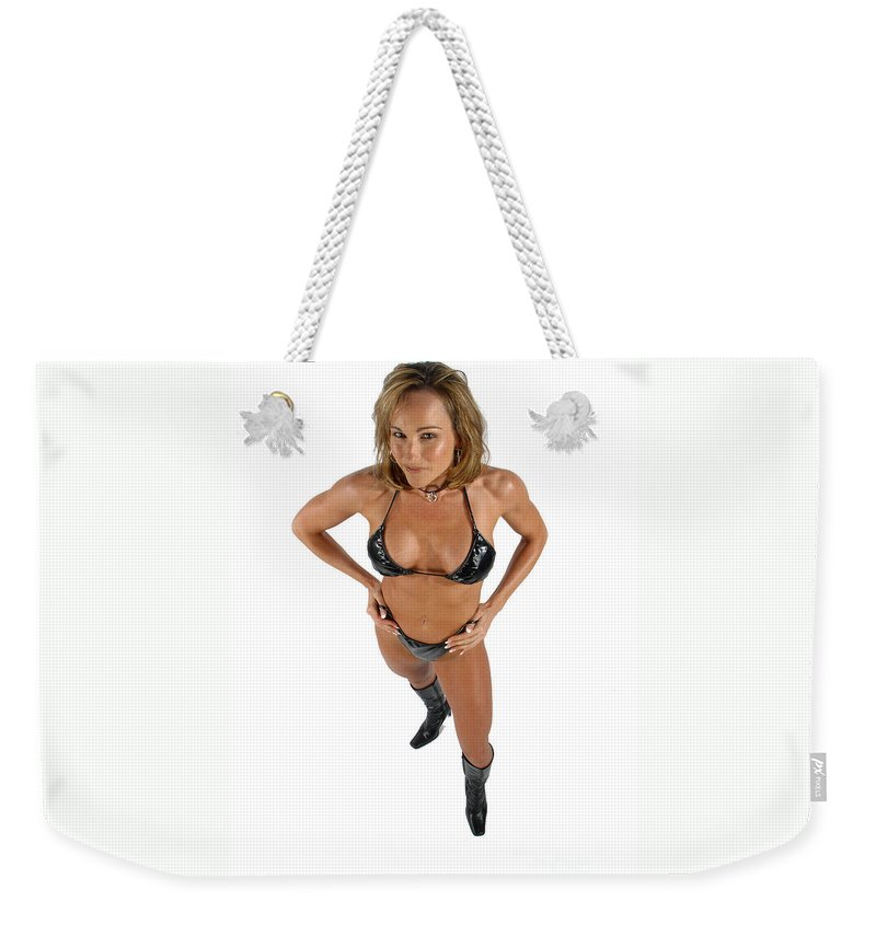 Model Weekender Tote Bag featuring the photograph Black Bikini 49-2 by Gary Gingrich Galleries