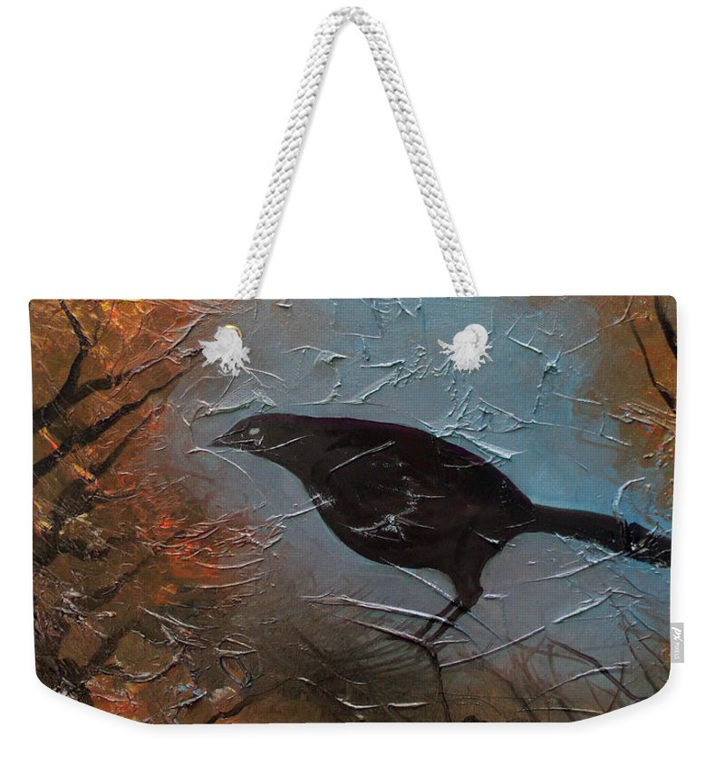 Landscape Weekender Tote Bag featuring the painting Black Bird by Sergey Bezhinets