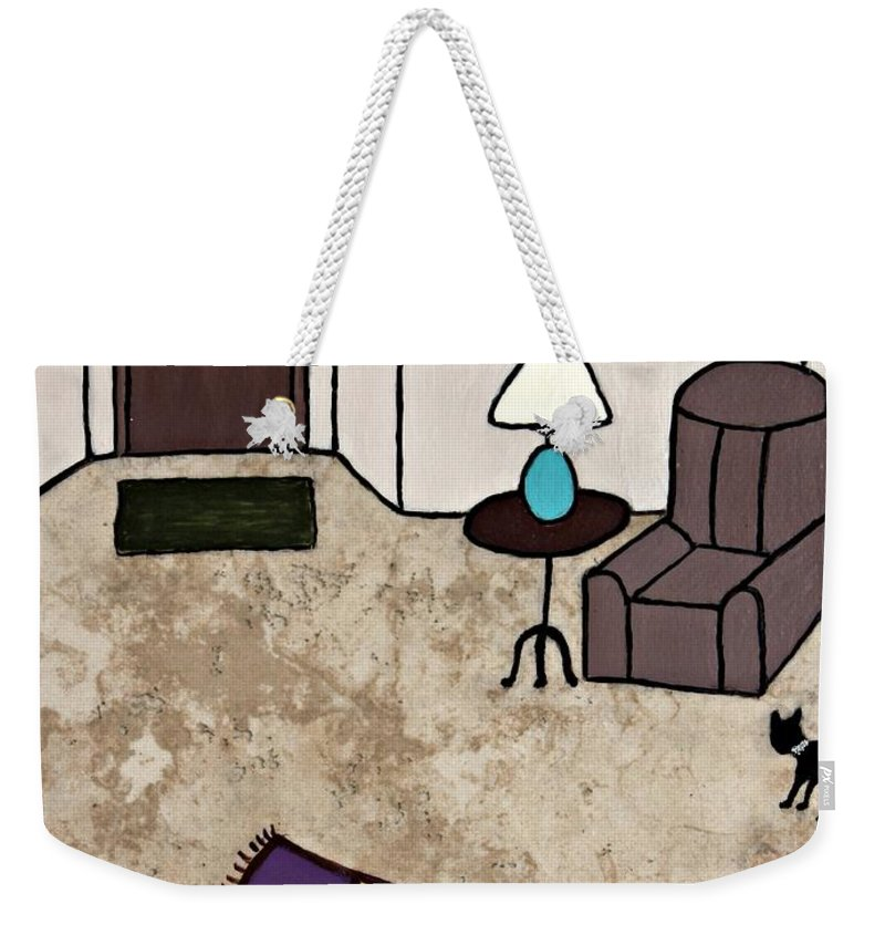 Folk Art Weekender Tote Bag featuring the painting Essence Of Home - Black Cat Entering Living Room by Sheryl Young