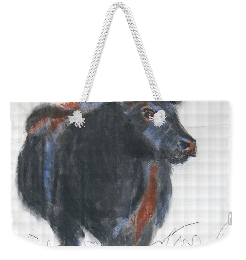 Mike Jory Cow Weekender Tote Bag featuring the painting Black Cow Drawing by Mike Jory
