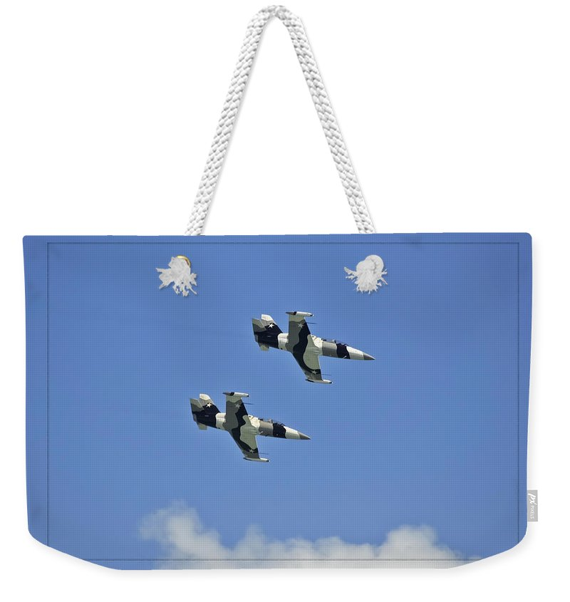 L-39s Weekender Tote Bag featuring the photograph Black Diamonds In The Sky by DigiArt Diaries by Vicky B Fuller