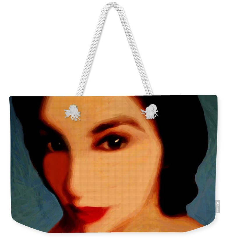 Portrait Weekender Tote Bag featuring the painting Black-eyed Beauty by RC DeWinter