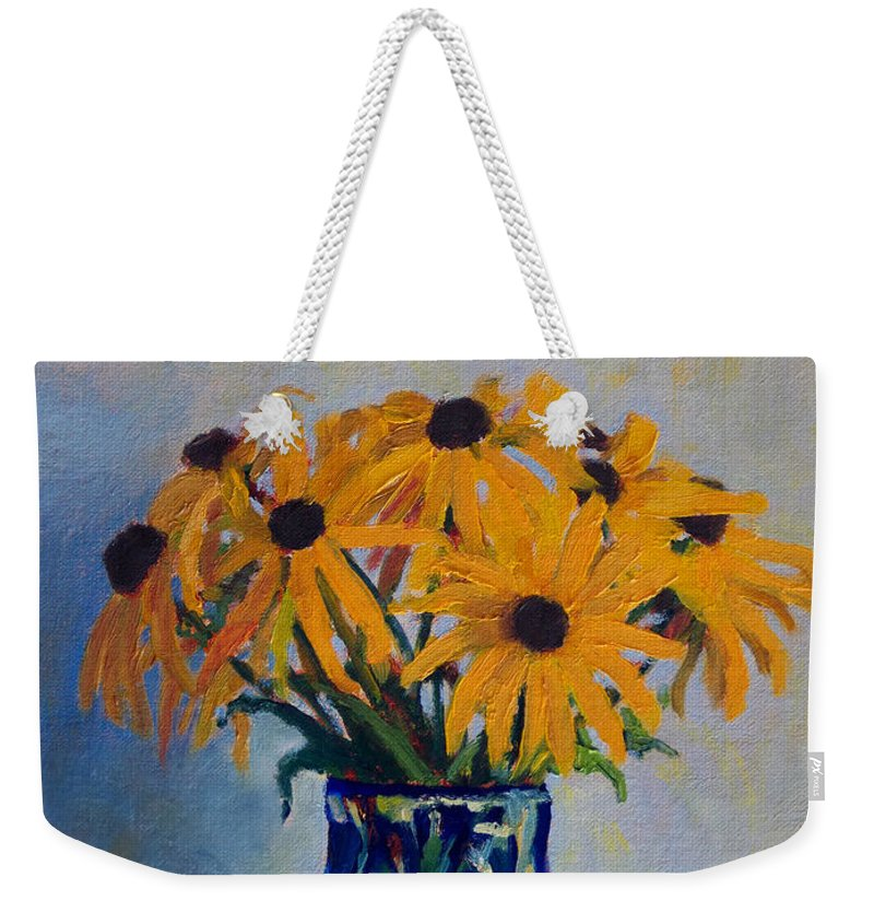 Impressionism Weekender Tote Bag featuring the painting Black Eyed Susans by Keith Burgess