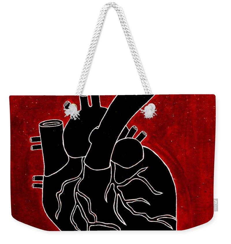 Weekender Tote Bag featuring the painting Black Heart by Stefanie Forck