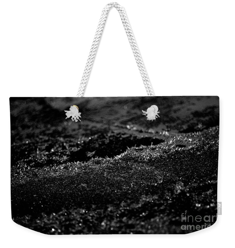 Black Ice Abstract Weekender Tote Bag featuring the photograph Black Ice Abstract by Maria Urso