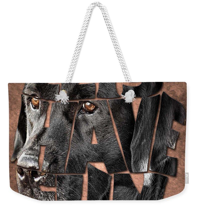 Black Labrador Typography Weekender Tote Bag featuring the painting Black Labrador Typography Artwork by Georgeta Blanaru