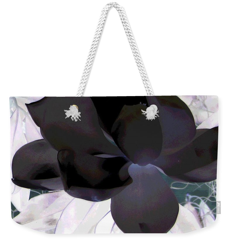 Magnolia Weekender Tote Bag featuring the photograph Black Magnolia by Debi Singer