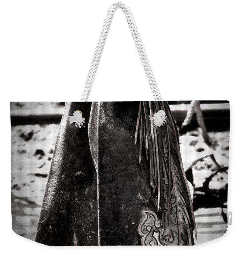 Chaps Weekender Tote Bag featuring the photograph Black N White Chaps by Alice Gipson