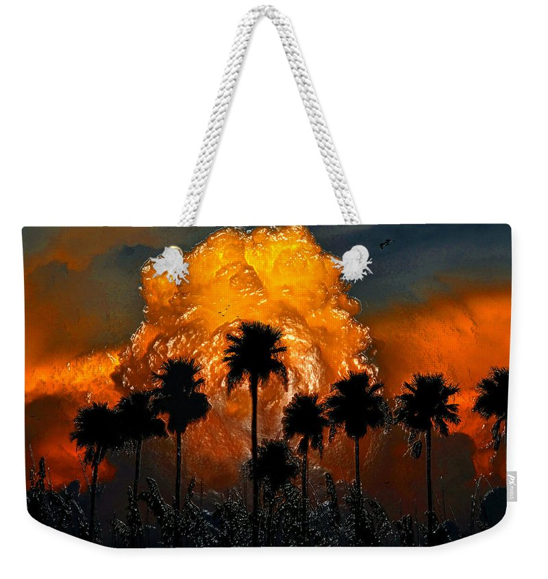 Thunder Storm Weekender Tote Bag featuring the painting Black Palms At Dusk by David Lee Thompson