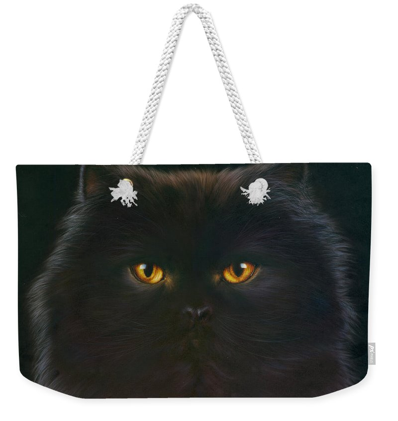 Andrew Farley Weekender Tote Bag featuring the photograph Black Persian by MGL Meiklejohn Graphics Licensing