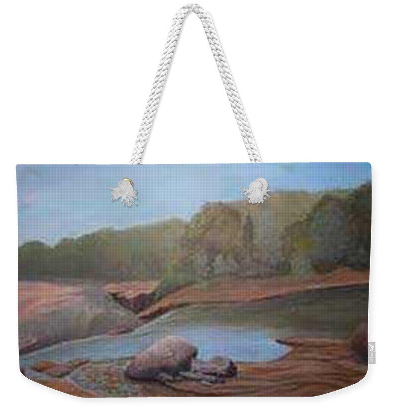 Rick Huotari Weekender Tote Bag featuring the painting Black River Falls by Rick Huotari