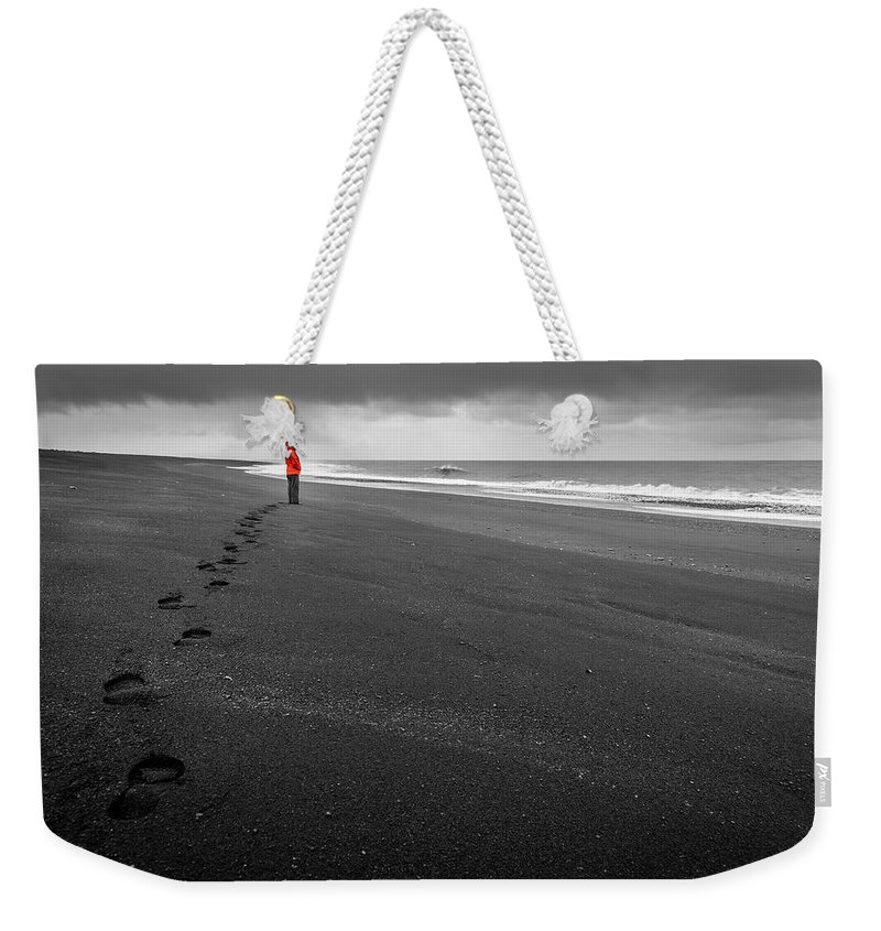 Atlantic Weekender Tote Bag featuring the photograph Black Sand by Alexey Stiop