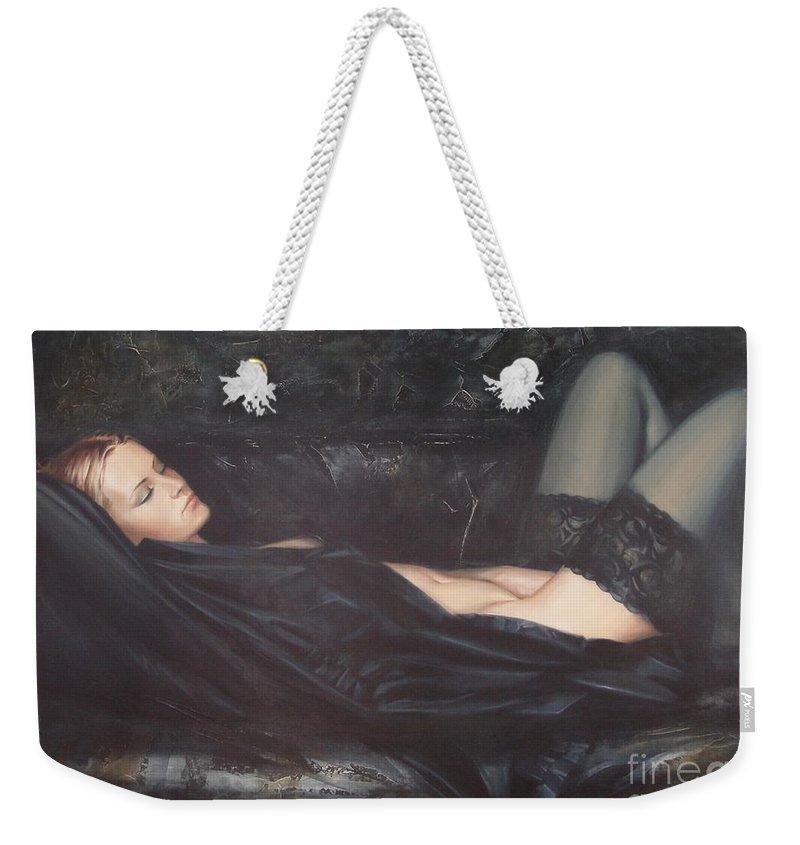 Ignatenko Weekender Tote Bag featuring the painting Black Silk by Sergey Ignatenko