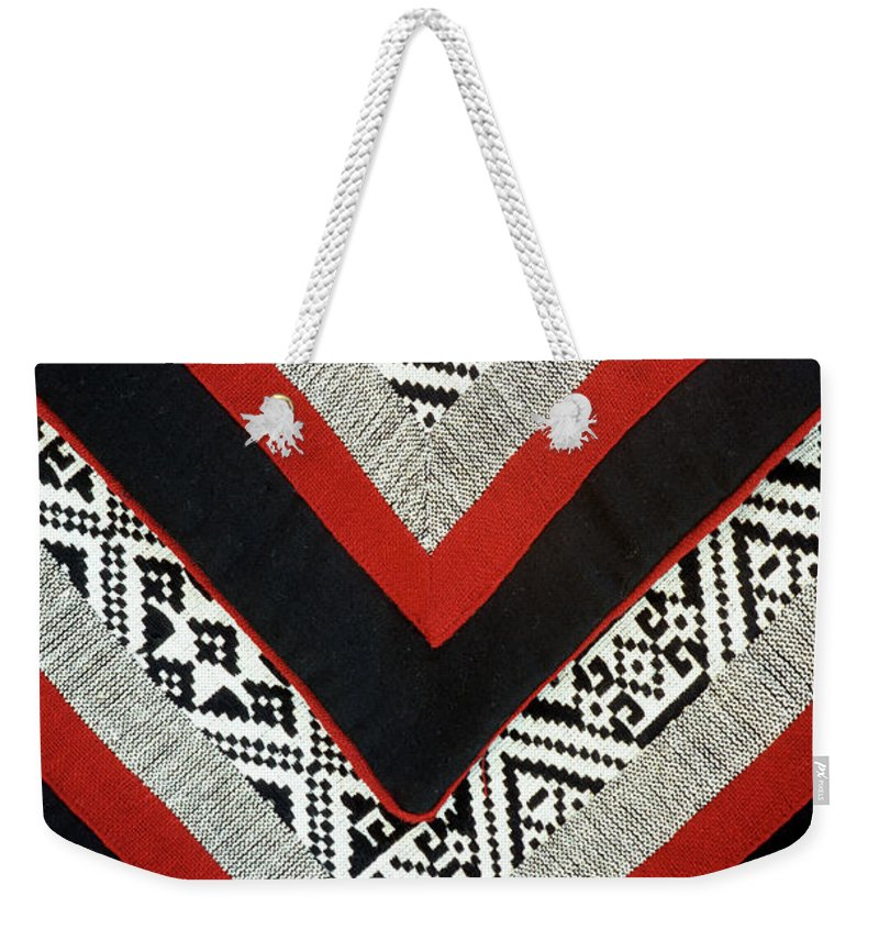 Vietnam Weekender Tote Bag featuring the photograph Black Thai Fabric 01 by Rick Piper Photography
