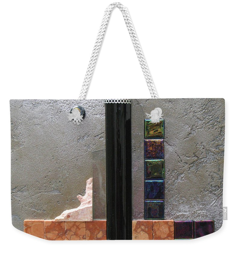 Assemblage Weekender Tote Bag featuring the relief Black Tower by Elaine Booth-Kallweit
