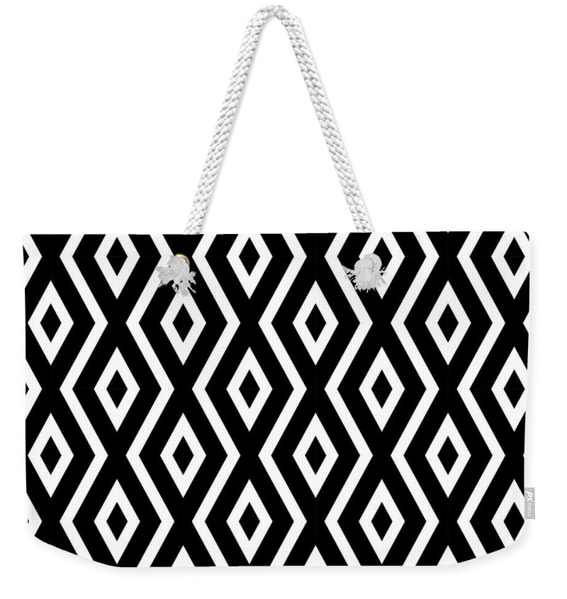 Black And White Weekender Tote Bag featuring the mixed media Black and White Pattern by Christina Rollo