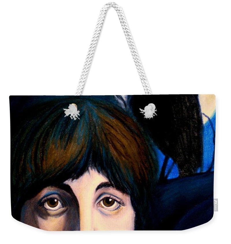 Paul Mccartney Weekender Tote Bag featuring the painting Blackbird by Debi Starr
