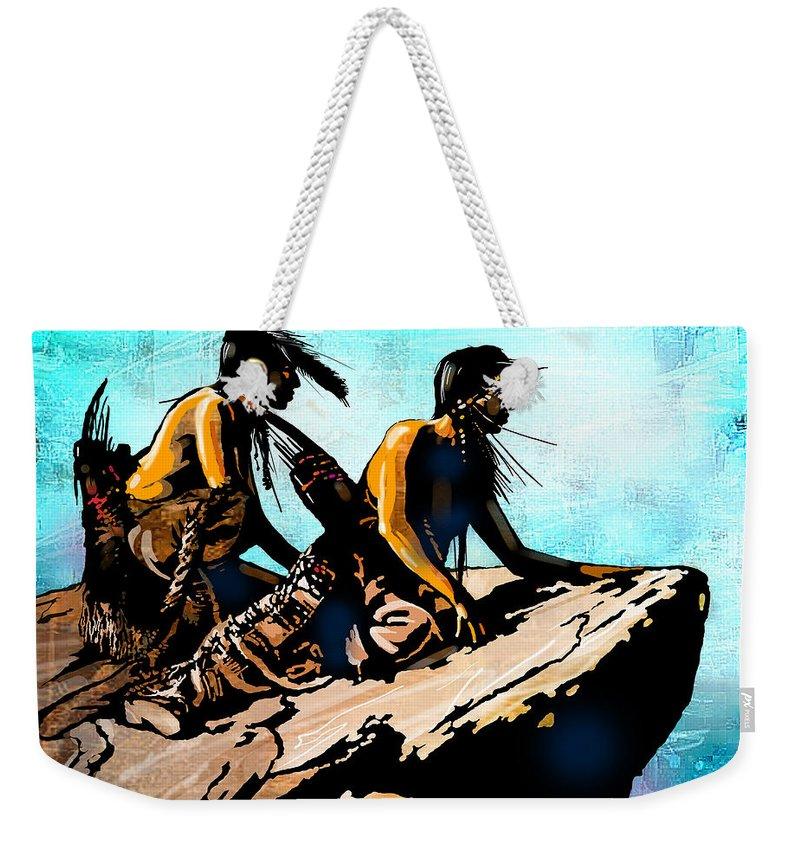 Native Americans Weekender Tote Bag featuring the painting Blackfeet Scouts by Paul Sachtleben
