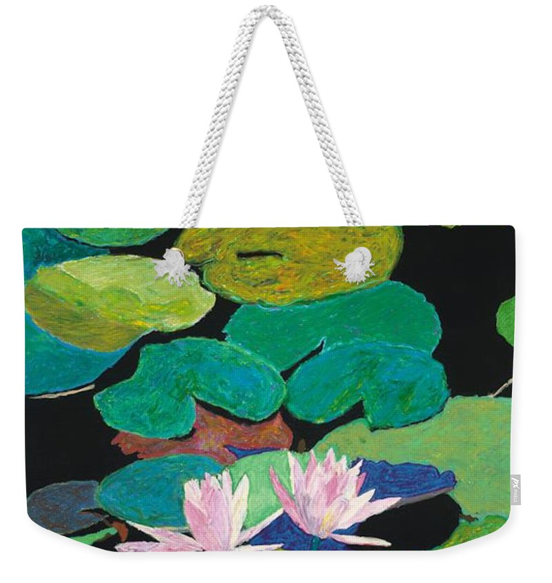 Landscape Weekender Tote Bag featuring the painting Blairs Pond by Allan P Friedlander