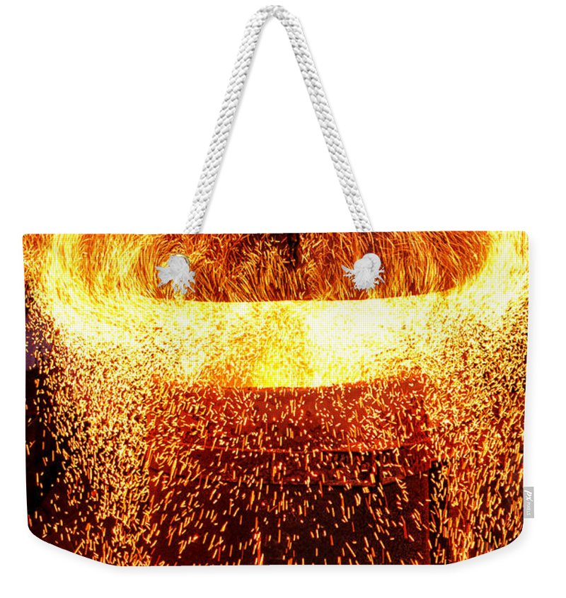Fire Weekender Tote Bag featuring the photograph Blast by Olivier Le Queinec