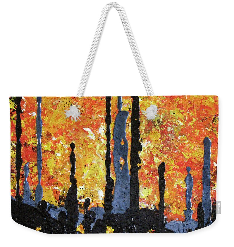 Painting Weekender Tote Bag featuring the painting Blaze by Elaine Booth-Kallweit
