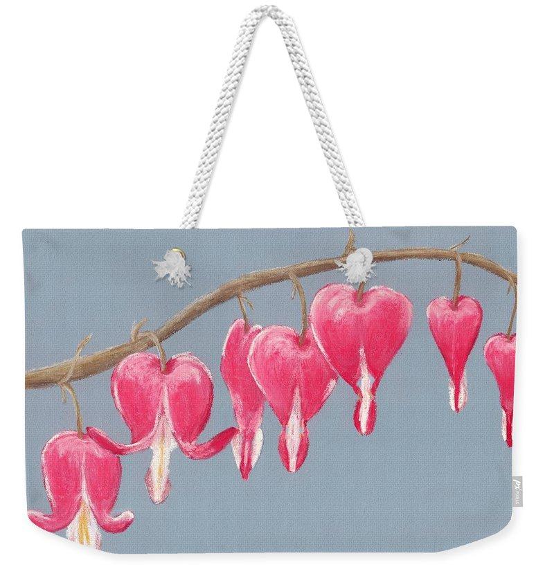 Bleeding Weekender Tote Bag featuring the painting Bleeding Hearts by Anastasiya Malakhova