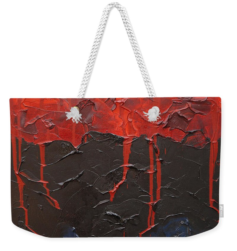 Fantasy Weekender Tote Bag featuring the painting Bleeding Sky by Sergey Bezhinets
