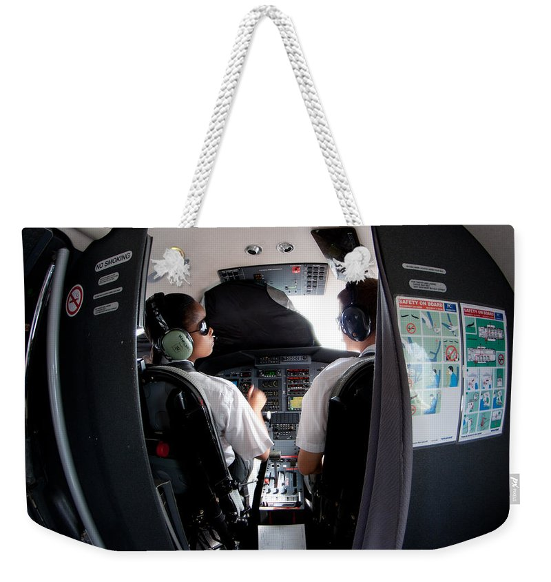 Cockpit Weekender Tote Bag featuring the photograph Blind Training by Paul Job