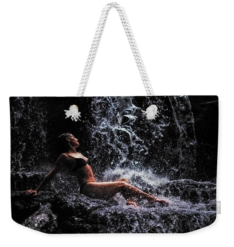 Mauritius Weekender Tote Bag featuring the photograph Bliss. Anna At Eureka Waterfalls. Mauritius by Jenny Rainbow
