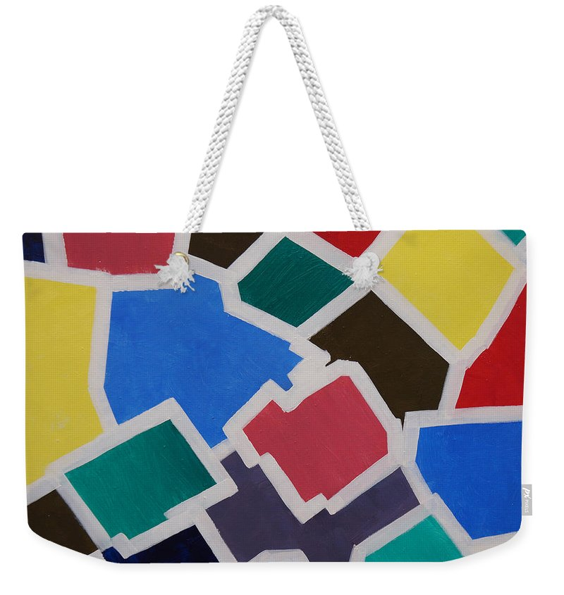 Acrylic Weekender Tote Bag featuring the painting Outside the Box by Sergey Bezhinets