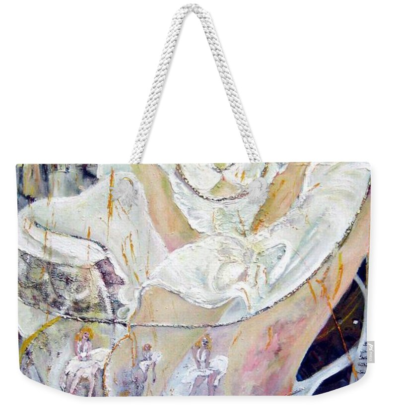 Figurative Weekender Tote Bag featuring the painting Blondie  by Peggy Blood