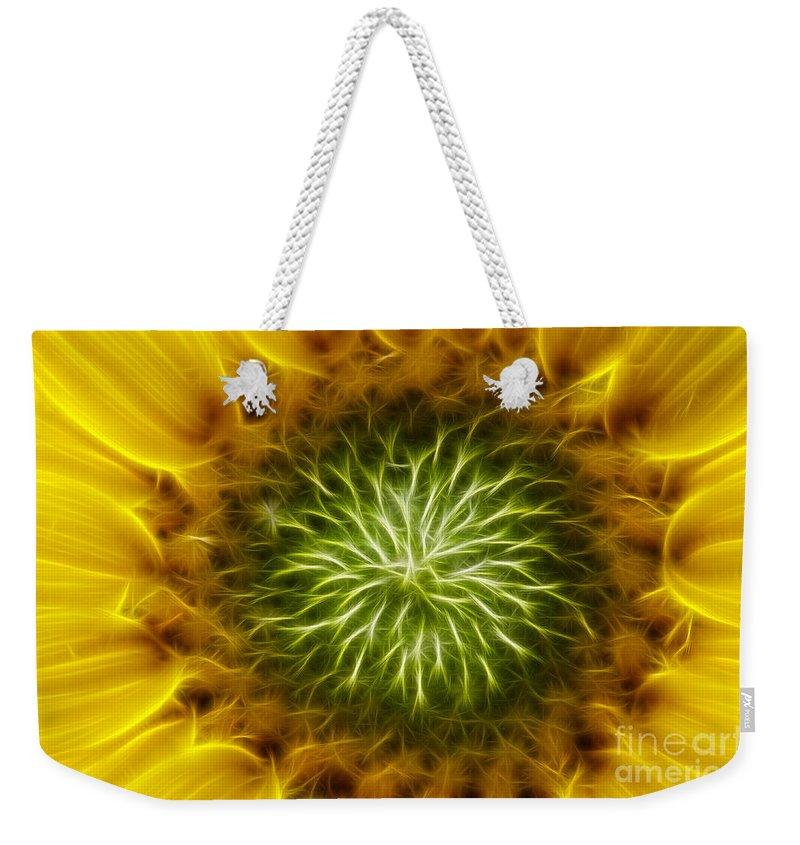 Sunflower Weekender Tote Bag featuring the digital art Bloom Of The Sunflower by Michal Boubin